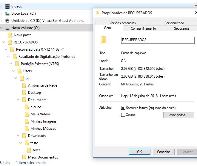 Figura 5 - Mostra a quantidade total de arquivos recuperados pelo DRW