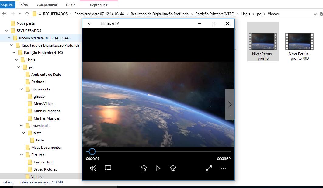 Figura 6 - Mostra a execução de um vídeo recuperado pelo programa DRW
